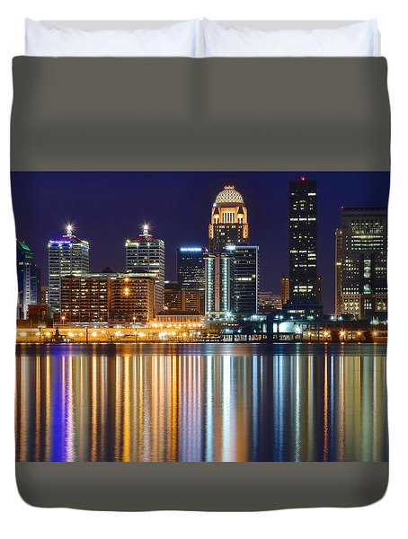 The Lights Of A Louisville Night Duvet Cover by Frozen in Time Fine Art Photography