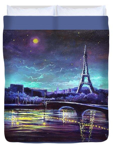 The Lights Of Paris Duvet Cover by Randy Burns