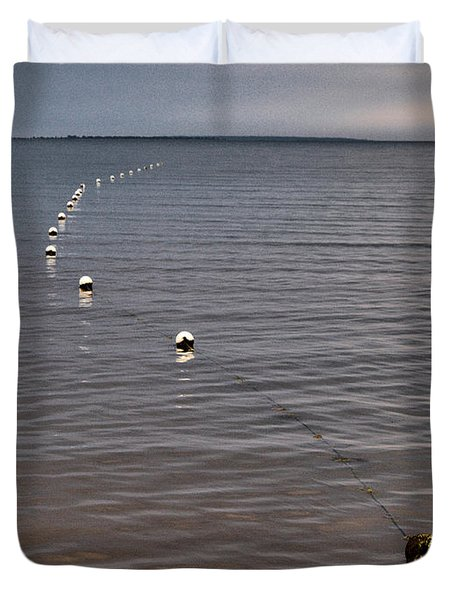Duvet Cover featuring the photograph The Line by Jouko Lehto