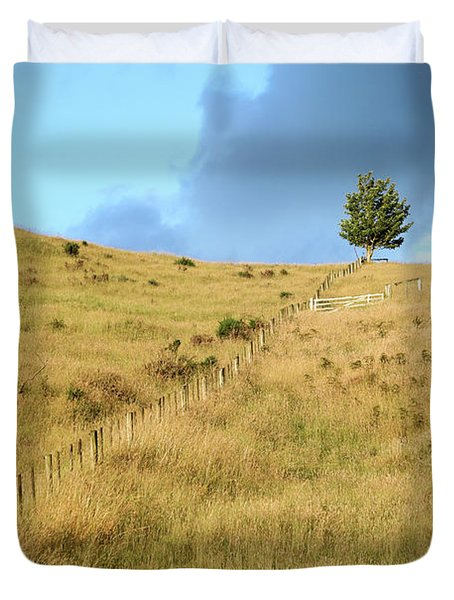 Duvet Cover featuring the photograph The Lines The Tree And The Hill by Yoel Koskas