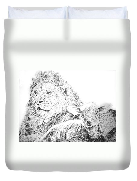 The Lion And The Lamb Duvet Cover by Bryan Bustard