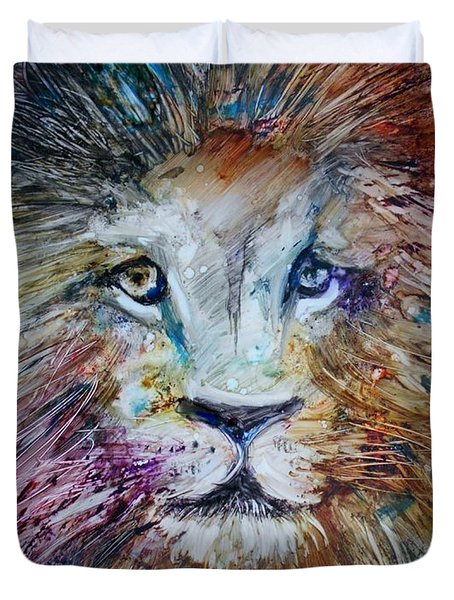 Duvet Cover featuring the painting The Lion by Deborah Nell
