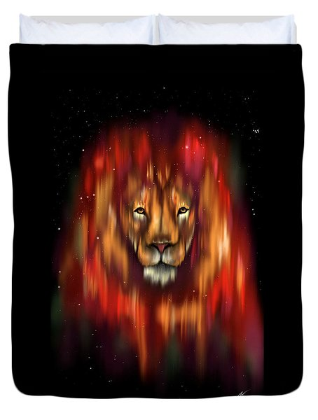 The Lion, The Bull And The Hunter Duvet Cover