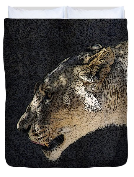 The Lioness Duvet Cover by Ernie Echols