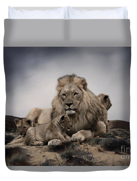 Duvet Cover featuring the photograph The Lions by Christine Sponchia