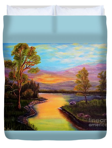 The Liquid Fire Of A Painted Golden Sunset Duvet Cover