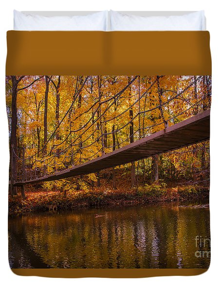 Duvet Cover featuring the photograph The Little Bridge by Rima Biswas