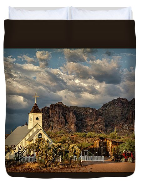 The Little Chapel In The Superstitions  Duvet Cover