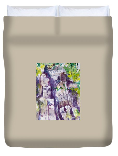The Little Climbing Wall Duvet Cover by Jan Bennicoff