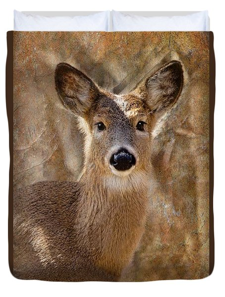 Duvet Cover featuring the photograph The Little Doe by Laurinda Bowling