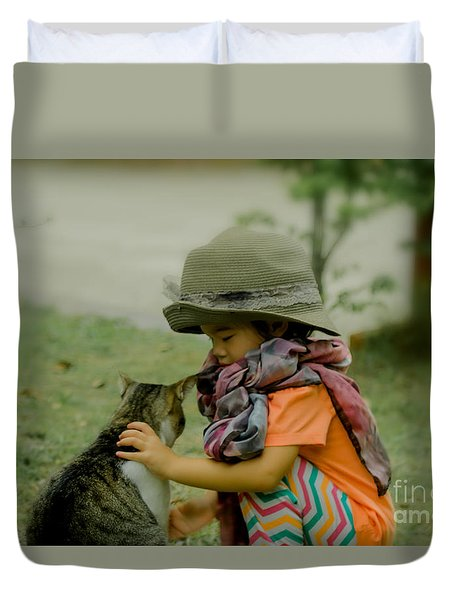 The Little Girl And Her Cat Duvet Cover