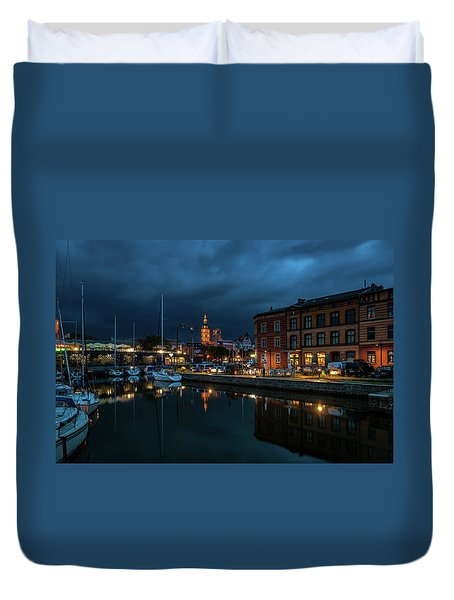 The Little Harbor In Stralsund Duvet Cover by Martina Thompson
