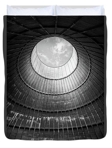 Duvet Cover featuring the photograph the little house inside the cooling tower BW by Dirk Ercken