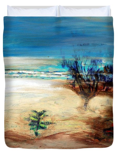 Duvet Cover featuring the painting The Little Pine Tree by Winsome Gunning