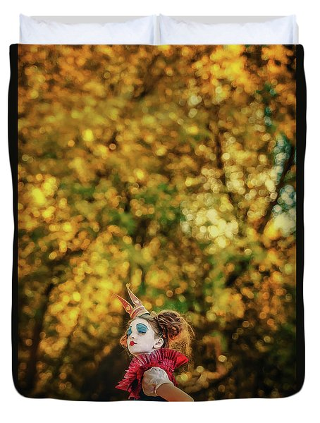 Duvet Cover featuring the photograph The Little Queen Of Hearts Alice In Wonderland by Dimitar Hristov