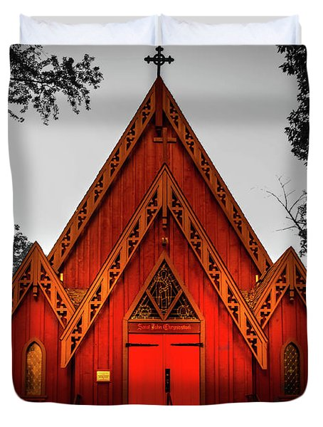The Little Red Church In Black And White Duvet Cover