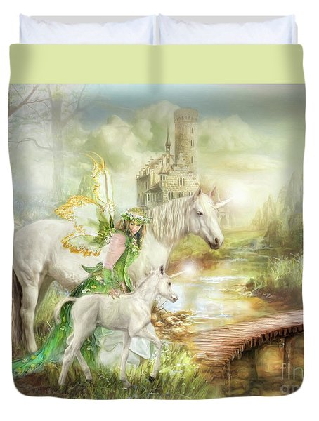 Duvet Cover featuring the digital art  The Littlest Unicorn by Trudi Simmonds