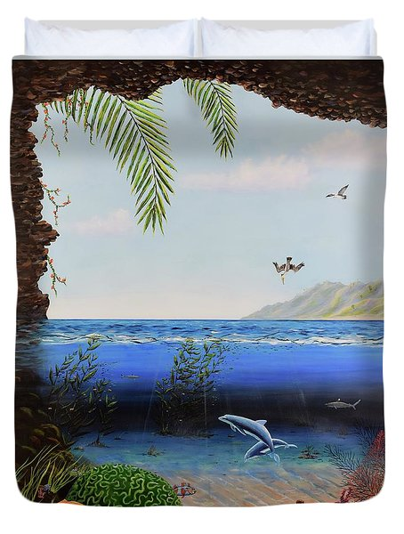 Duvet Cover featuring the painting The Living Ocean by Mary Scott