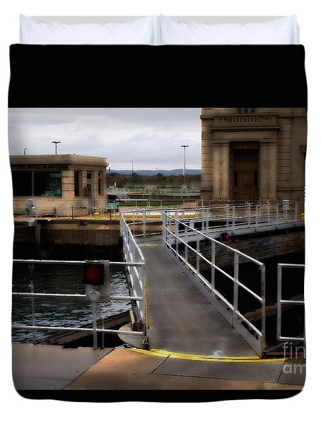 The Locks At Sault Ste Marie Michigan Duvet Cover by David Blank