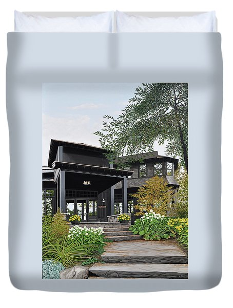 Duvet Cover featuring the painting The Lodge At Fawn Island by Kenneth M Kirsch