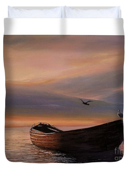 A Lone Boat Duvet Cover