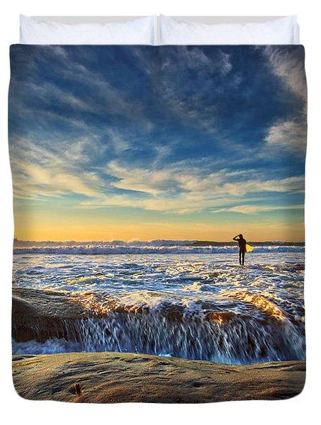 The Lone Surfer Duvet Cover