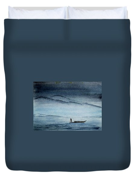 Duvet Cover featuring the painting The Lonely Boat Man by Asha Sudhaker Shenoy