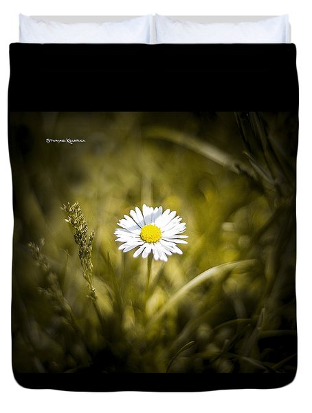 Duvet Cover featuring the photograph The Lonely Daisy by Stwayne Keubrick