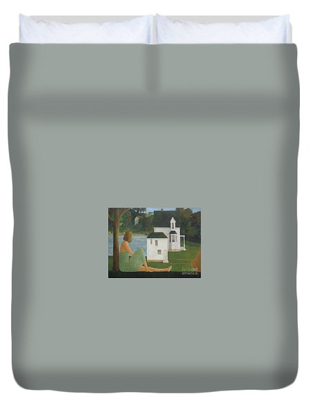 The Lonely Side Of The Lake Duvet Cover by Glenn Quist