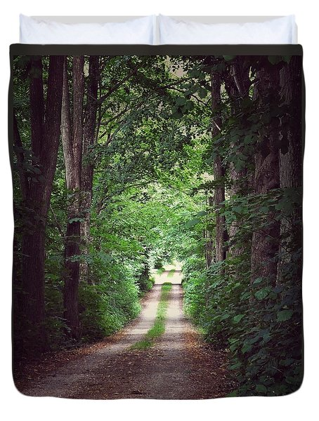 Duvet Cover featuring the photograph The Long Driveway by Karen Stahlros