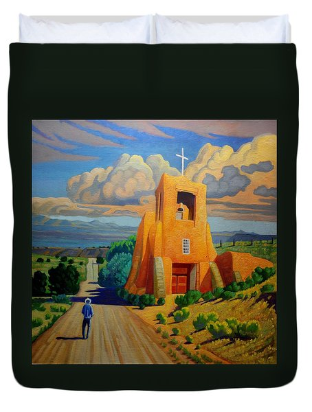 Duvet Cover featuring the painting The Long Road To Santa Fe by Art West