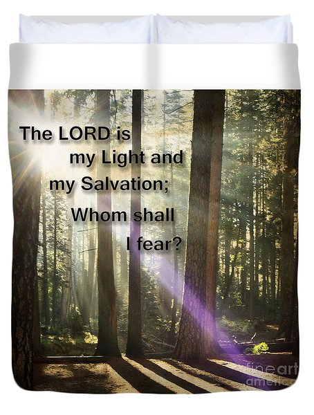 Duvet Cover featuring the photograph The Lord Is My Light by MaryJane Armstrong