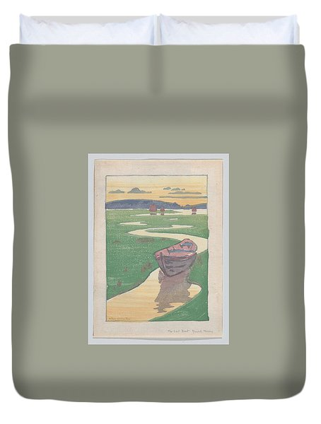 Duvet Cover featuring the painting The Lost Boat , Arthur Wesley Dow by Artistic Panda