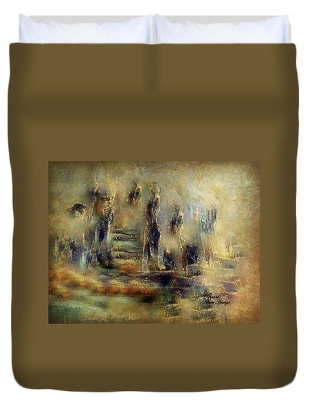 Duvet Cover featuring the painting The Lost City By Sherriofpalmsprings by Sherri  Of Palm Springs