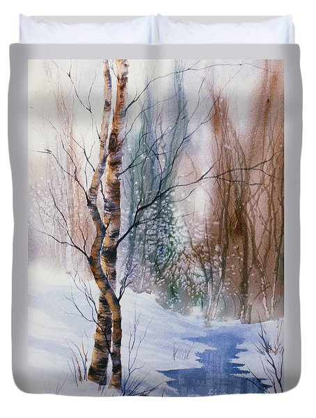 Duvet Cover featuring the painting The Lovers by Teresa Ascone