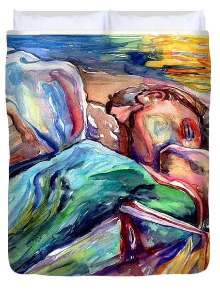 The Lovers Watercolor Duvet Cover