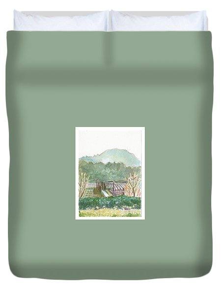 Duvet Cover featuring the painting The Luberon Valley by Tilly Strauss