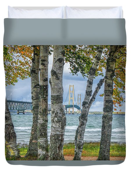 The Mackinaw Bridge By The Straits Of Mackinac In Autumn With Birch Trees Duvet Cover