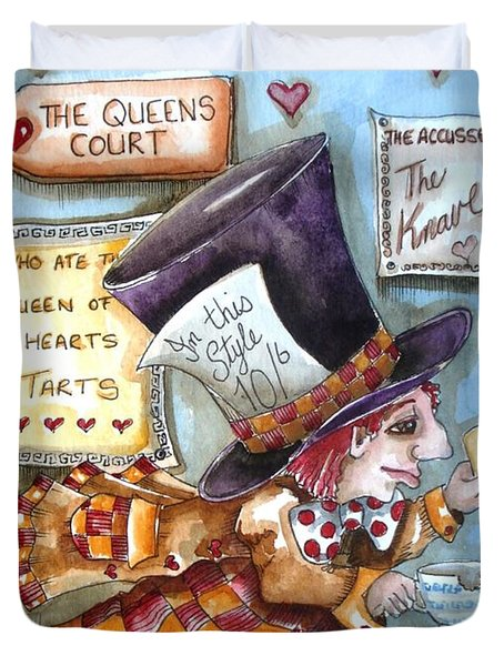 The Mad Hatter - In Court Duvet Cover by Lucia Stewart