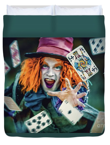 Duvet Cover featuring the photograph The Mad Hatter Alice In Wonderland by Dimitar Hristov