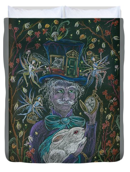 The Maddening Hatter Duvet Cover by Dawn Fairies