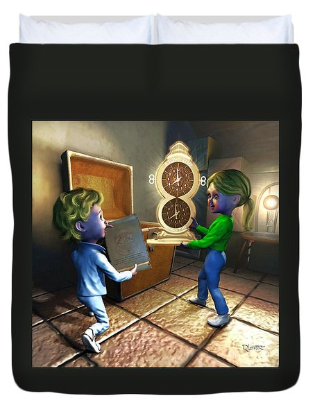 Duvet Cover featuring the painting The Magic Discovery by Dave Luebbert