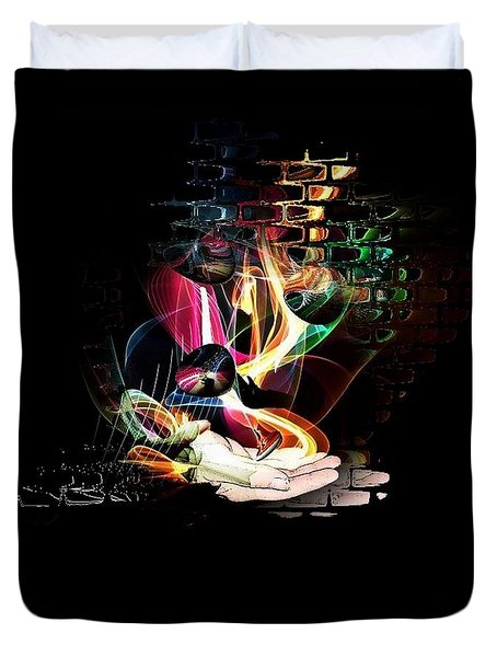 Duvet Cover featuring the digital art The Magic Hand Of The Artist By Nico Bielow by Nico Bielow