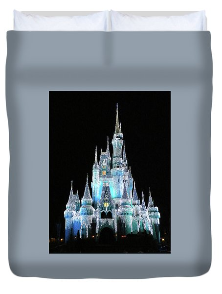 The Magic Kingdom Castle In Frosty Light Blue Walt Disney World Mp Duvet Cover
