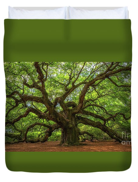 The Magical Angel Oak Tree Panorama  Duvet Cover