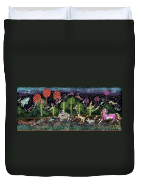 Duvet Cover featuring the painting The Magical Parade Of The Animals by Marti McGinnis