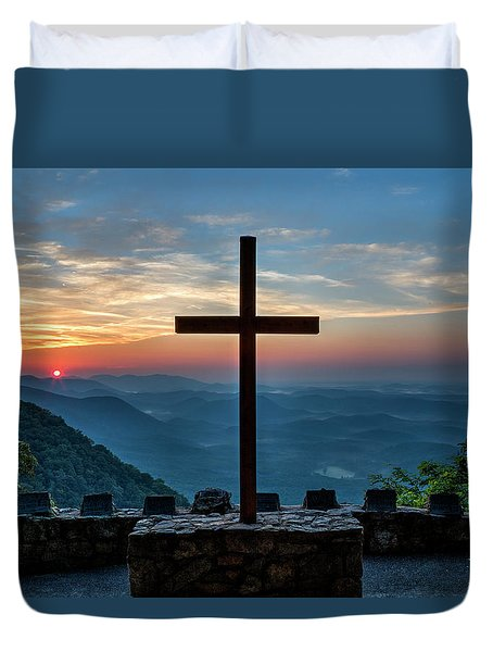 The Magnificent Cross Pretty Place Chapel Greenville Sc Great Smoky Mountains Art Duvet Cover