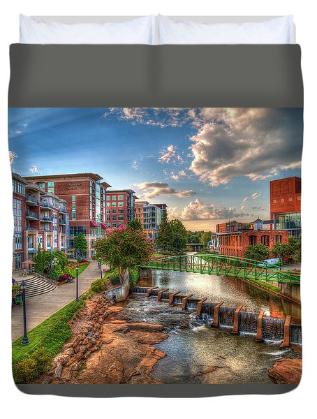 The Main Attraction Reedy River Greenville South Carolina Art Duvet Cover