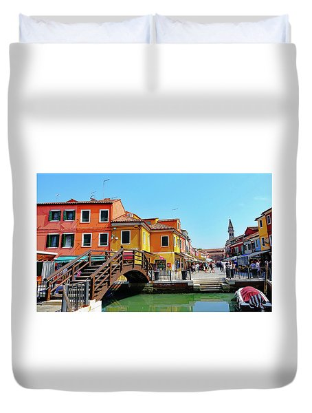 The Main Street On The Island Of Burano, Italy Duvet Cover