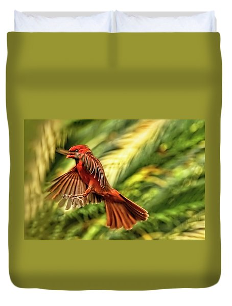 The Male Cardinal Approaches Duvet Cover